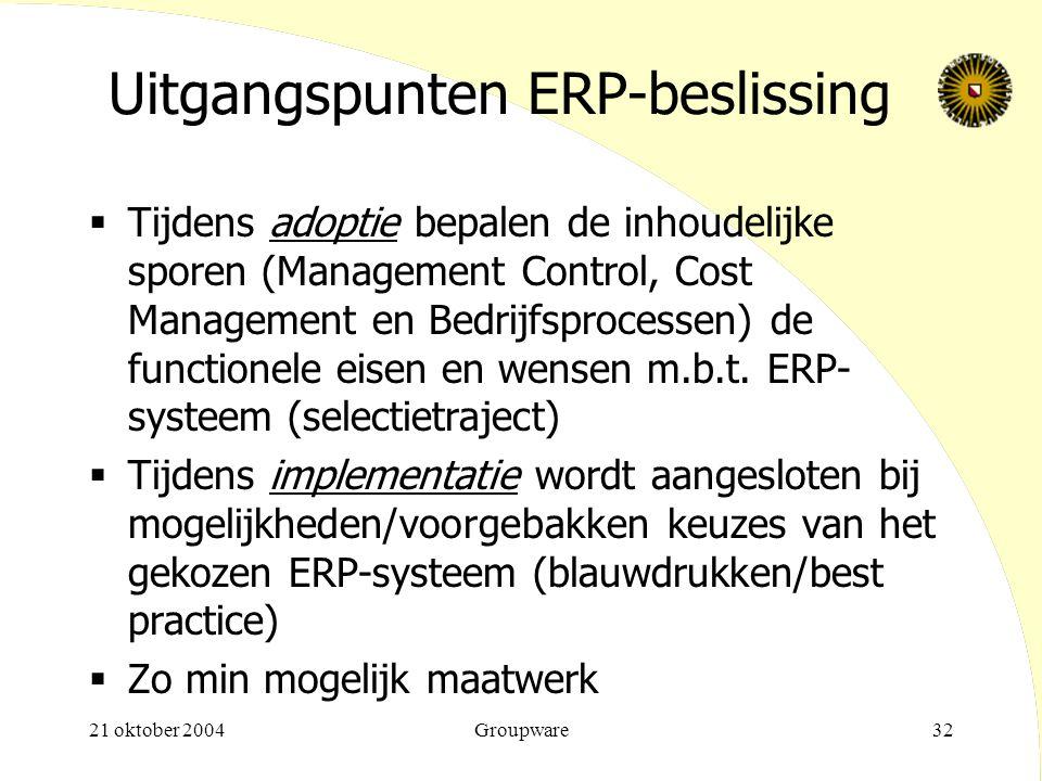 21 oktober 2004Groupware32 Uitgangspunten ERP-beslissing  Tijdens adoptie bepalen de inhoudelijke sporen (Management Control, Cost Management en Bedr