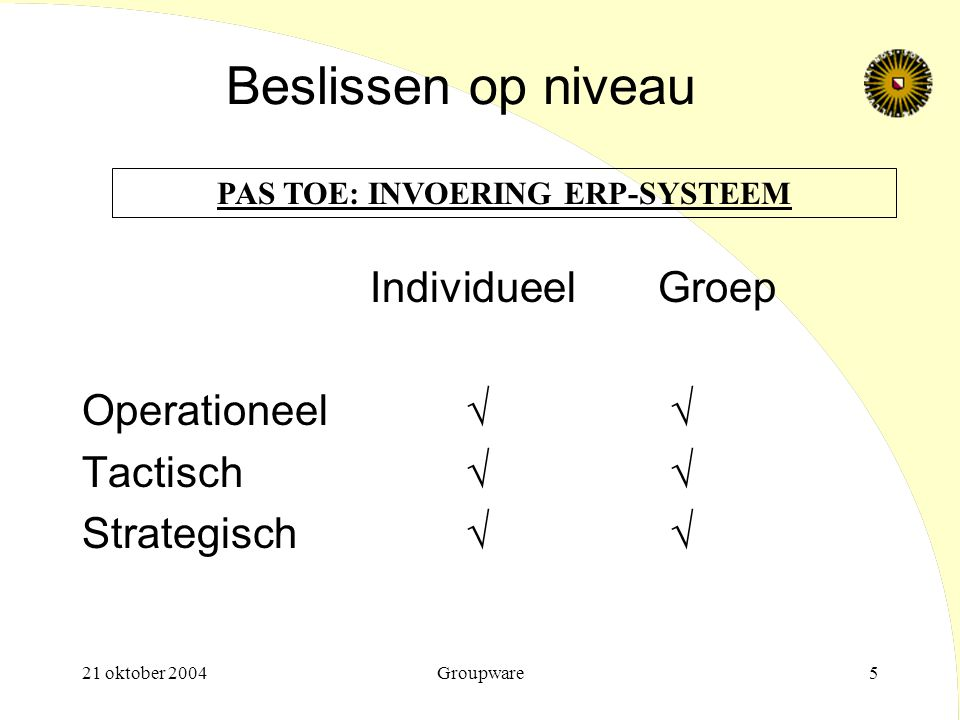 21 oktober 2004Groupware16 Prescriptieve besluitvormingsmodel Stap 2: Zoeken naar alternatieven:  'Optimizing'  'Satisficing' - marginal befenits,  'Best practice' - bounded rationality