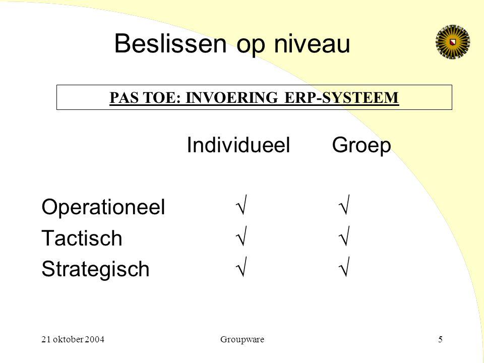 21 oktober 2004Groupware5 Beslissen op niveau IndividueelGroep Operationeel√ √ Tactisch√ √ Strategisch√ √ PAS TOE: INVOERING ERP-SYSTEEM