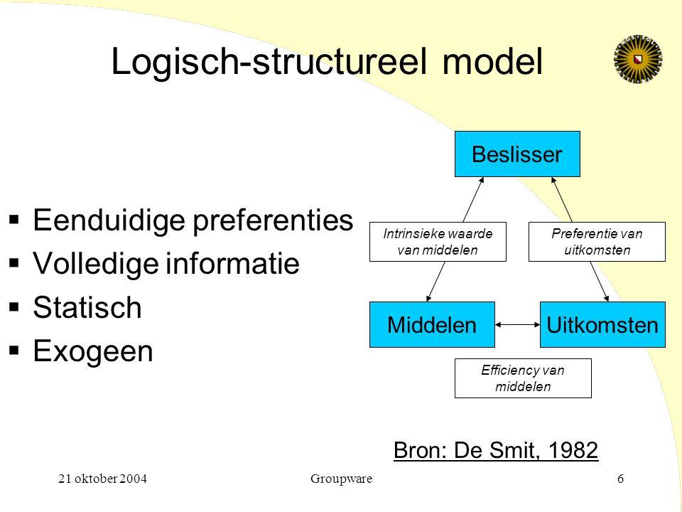 21 oktober 2004Groupware6 Logisch-structureel model  Eenduidige preferenties  Volledige informatie  Statisch  Exogeen Beslisser MiddelenUitkomsten