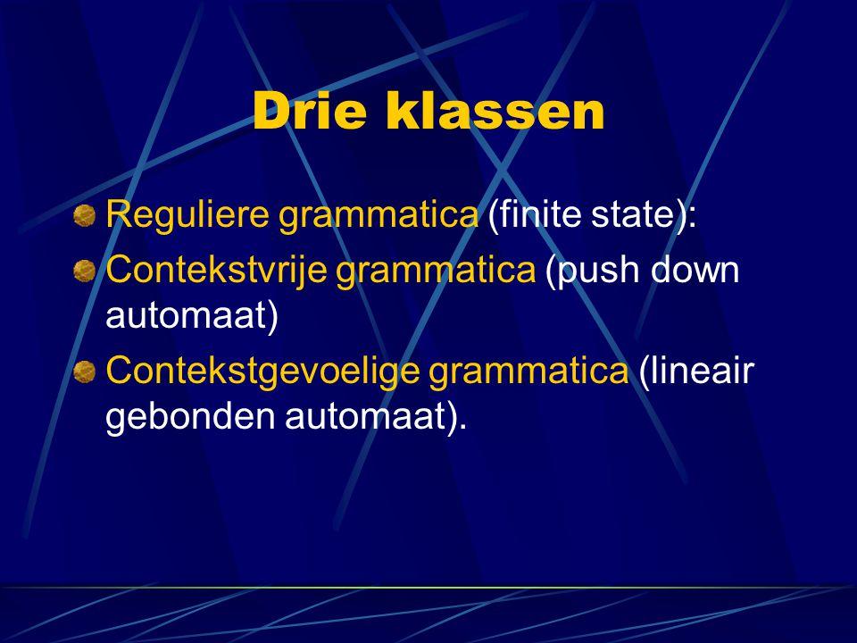 Drie klassen Reguliere grammatica (finite state): Contekstvrije grammatica (push down automaat) Contekstgevoelige grammatica (lineair gebonden automaa