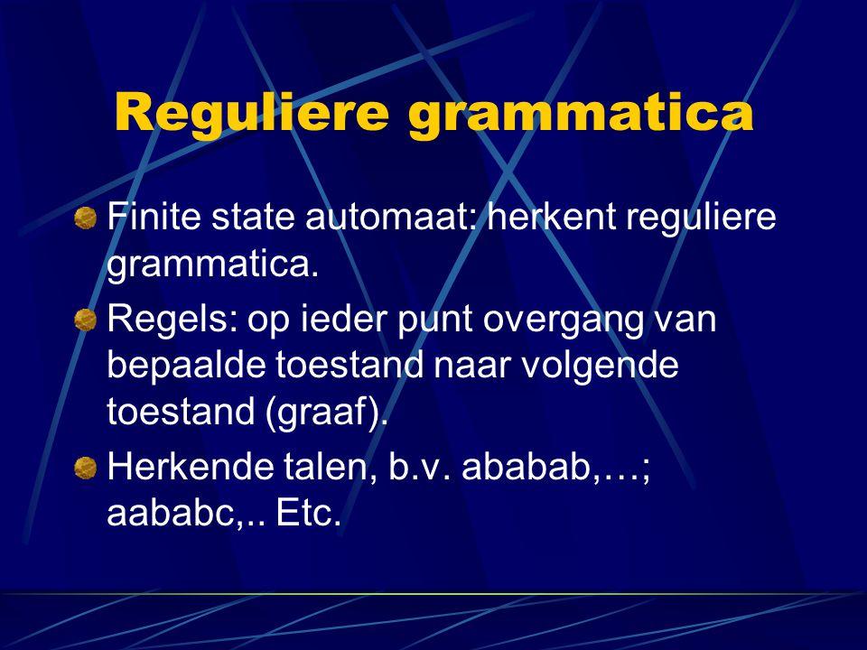 Reguliere grammatica Finite state automaat: herkent reguliere grammatica. Regels: op ieder punt overgang van bepaalde toestand naar volgende toestand