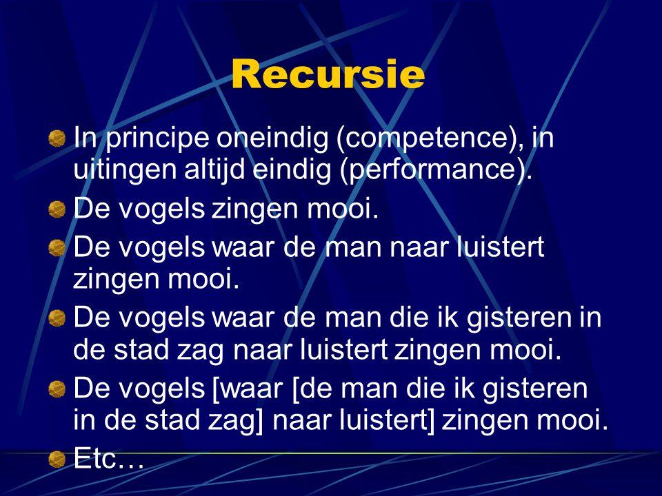 Recursie In principe oneindig (competence), in uitingen altijd eindig (performance). De vogels zingen mooi. De vogels waar de man naar luistert zingen