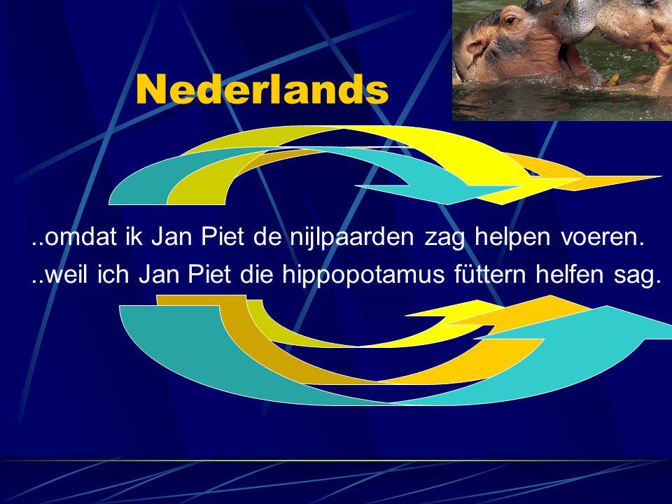 Nederlands..omdat ik Jan Piet de nijlpaarden zag helpen voeren...weil ich Jan Piet die hippopotamus füttern helfen sag.