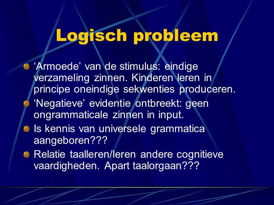 Logisch probleem 'Armoede' van de stimulus: eindige verzameling zinnen. Kinderen leren in principe oneindige sekwenties produceren. 'Negatieve' eviden