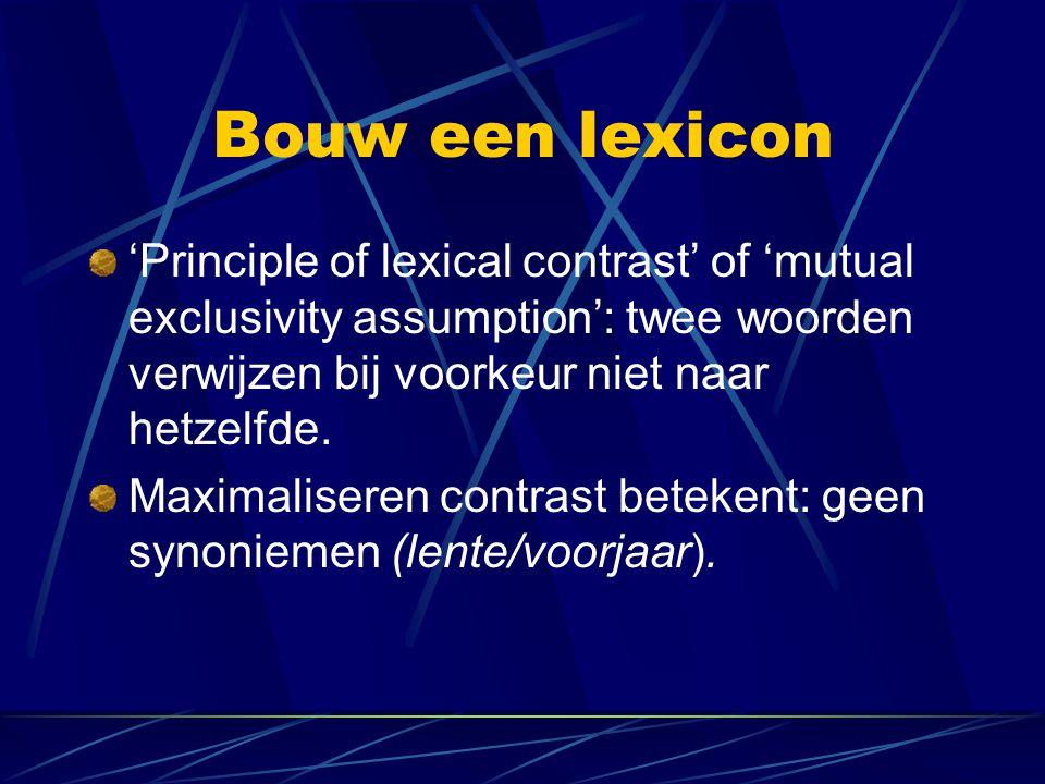 Bouw een lexicon 'Principle of lexical contrast' of 'mutual exclusivity assumption': twee woorden verwijzen bij voorkeur niet naar hetzelfde. Maximali