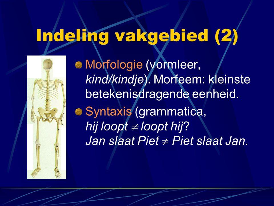 Indeling vakgebied (2) Morfologie (vormleer, kind/kindje). Morfeem: kleinste betekenisdragende eenheid. Syntaxis (grammatica, hij loopt  loopt hij? J