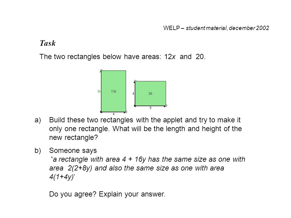 WELP – student material, december 2002 Task The two rectangles below have areas: 12x and 20.