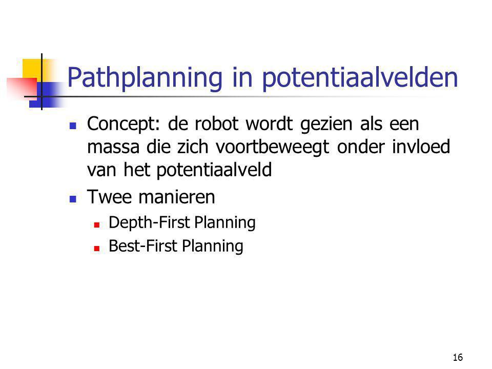16 Pathplanning in potentiaalvelden Concept: de robot wordt gezien als een massa die zich voortbeweegt onder invloed van het potentiaalveld Twee manieren Depth-First Planning Best-First Planning