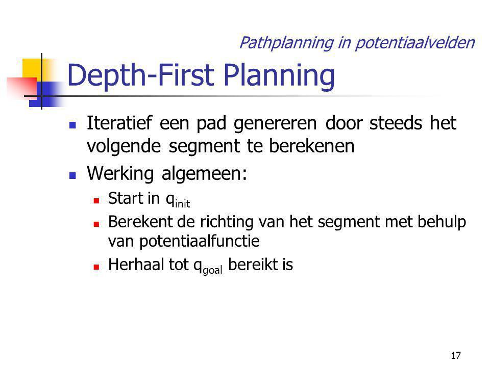 17 Depth-First Planning Iteratief een pad genereren door steeds het volgende segment te berekenen Werking algemeen: Start in q init Berekent de richting van het segment met behulp van potentiaalfunctie Herhaal tot q goal bereikt is Pathplanning in potentiaalvelden