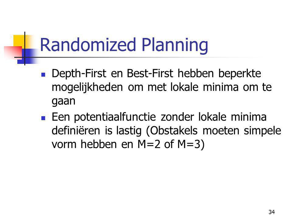34 Randomized Planning Depth-First en Best-First hebben beperkte mogelijkheden om met lokale minima om te gaan Een potentiaalfunctie zonder lokale minima definiëren is lastig (Obstakels moeten simpele vorm hebben en M=2 of M=3)