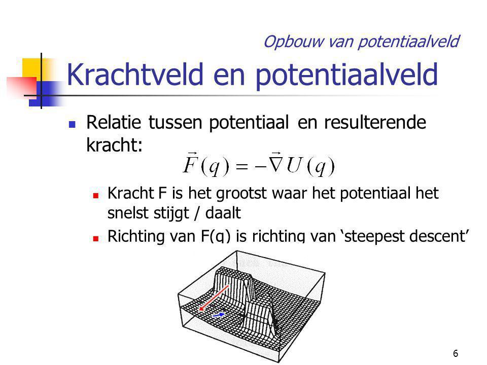 6 Krachtveld en potentiaalveld Relatie tussen potentiaal en resulterende kracht: Kracht F is het grootst waar het potentiaal het snelst stijgt / daalt Richting van F(q) is richting van 'steepest descent' Opbouw van potentiaalveld
