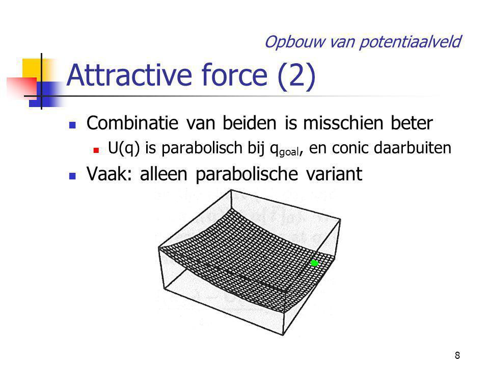 8 Attractive force (2) Combinatie van beiden is misschien beter U(q) is parabolisch bij q goal, en conic daarbuiten Vaak: alleen parabolische variant Opbouw van potentiaalveld