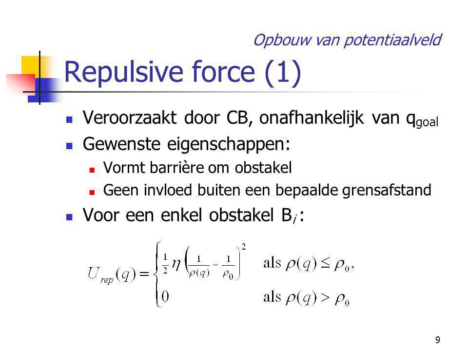 9 Repulsive force (1) Veroorzaakt door CB, onafhankelijk van q goal Gewenste eigenschappen: Vormt barrière om obstakel Geen invloed buiten een bepaalde grensafstand Voor een enkel obstakel B i : Opbouw van potentiaalveld