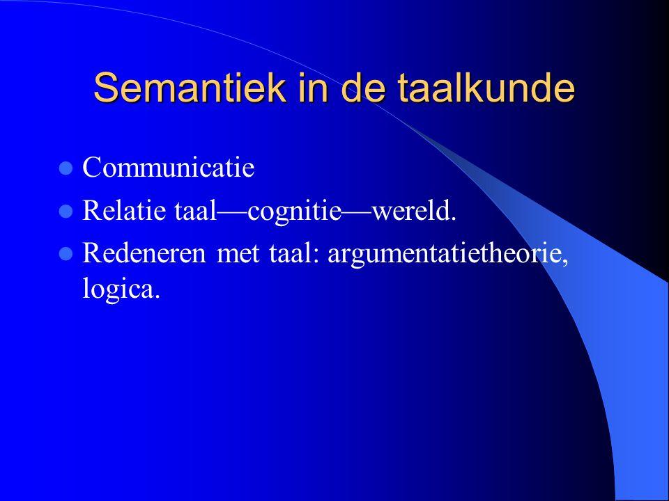 Semantiek in de taalkunde Communicatie Relatie taal—cognitie—wereld. Redeneren met taal: argumentatietheorie, logica.
