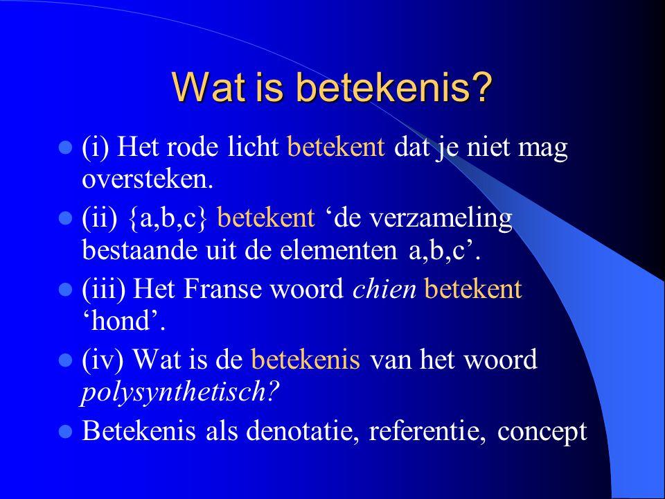 Wat is betekenis? (i) Het rode licht betekent dat je niet mag oversteken. (ii) {a,b,c} betekent 'de verzameling bestaande uit de elementen a,b,c'. (ii