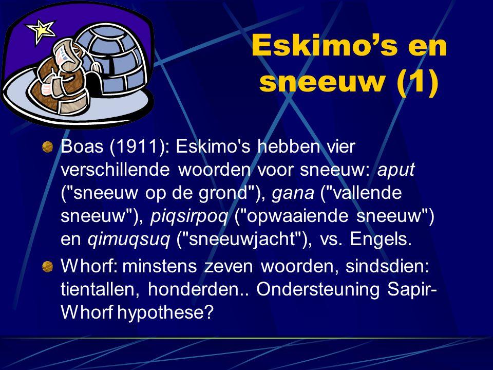 Eskimo's en sneeuw (1) Boas (1911): Eskimo's hebben vier verschillende woorden voor sneeuw: aput (