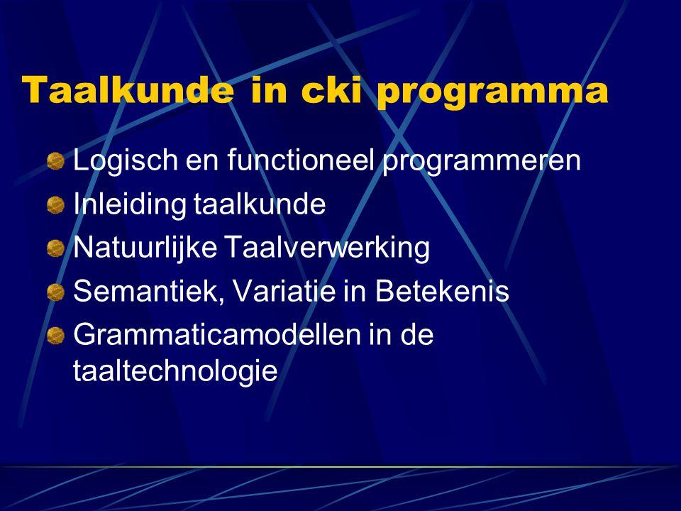 Taalkunde in cki programma Logisch en functioneel programmeren Inleiding taalkunde Natuurlijke Taalverwerking Semantiek, Variatie in Betekenis Grammat