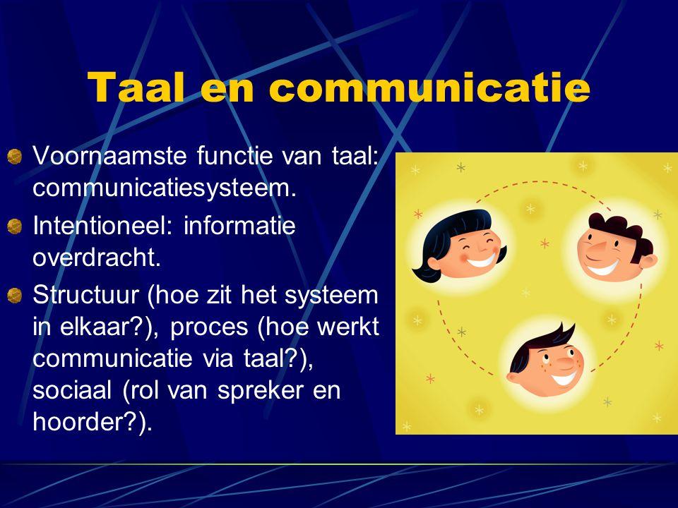 Taal en communicatie Voornaamste functie van taal: communicatiesysteem. Intentioneel: informatie overdracht. Structuur (hoe zit het systeem in elkaar?