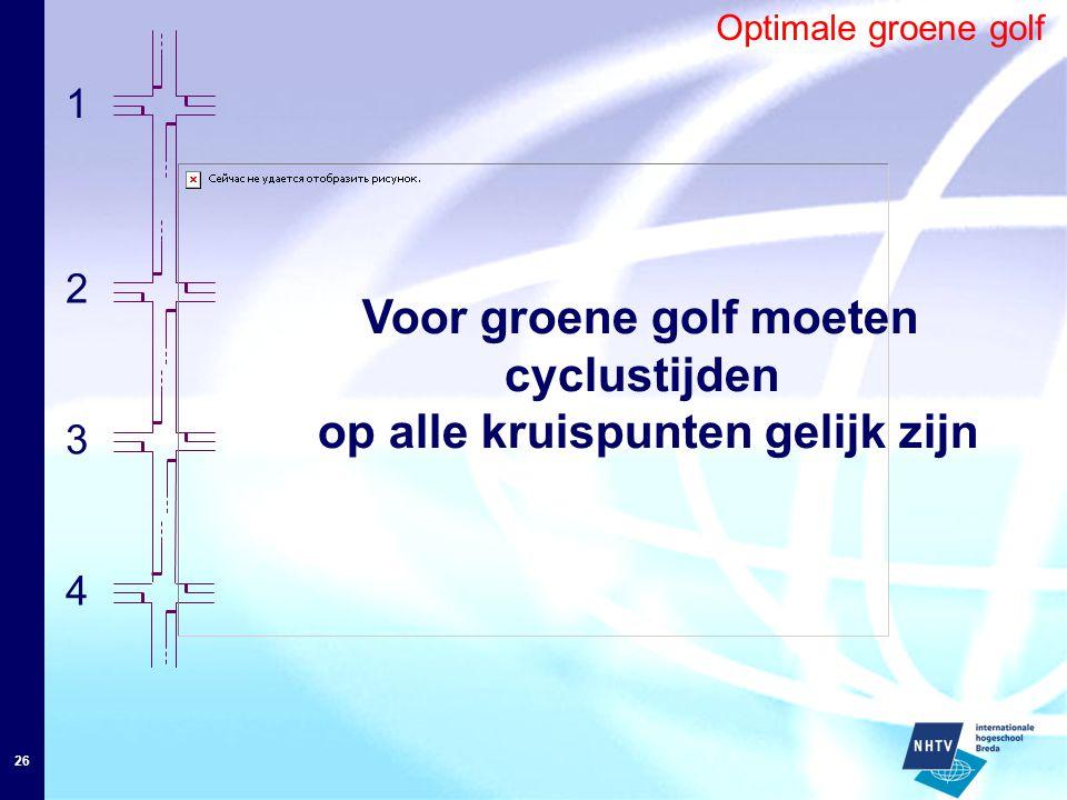 26 Optimale groene golf 1 4 3 2 Voor groene golf moeten cyclustijden op alle kruispunten gelijk zijn