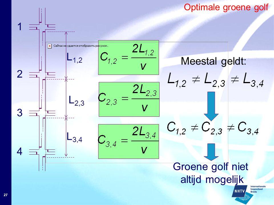 27 Optimale groene golf L 1,2 1 4 3 2 L 3,4 L 2,3 Meestal geldt: Groene golf niet altijd mogelijk