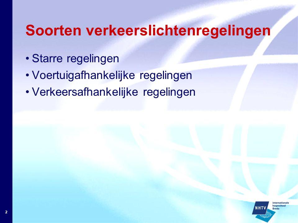 2 Soorten verkeerslichtenregelingen Starre regelingen Voertuigafhankelijke regelingen Verkeersafhankelijke regelingen