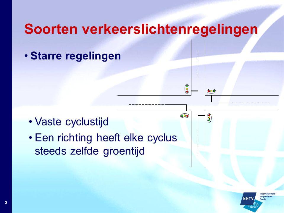 3 Soorten verkeerslichtenregelingen Starre regelingen Vaste cyclustijd Een richting heeft elke cyclus steeds zelfde groentijd