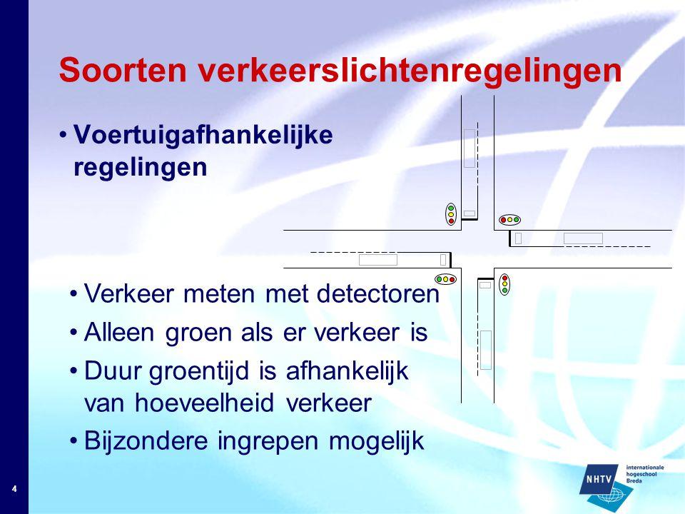 4 Soorten verkeerslichtenregelingen Voertuigafhankelijke regelingen Verkeer meten met detectoren Alleen groen als er verkeer is Duur groentijd is afhankelijk van hoeveelheid verkeer Bijzondere ingrepen mogelijk