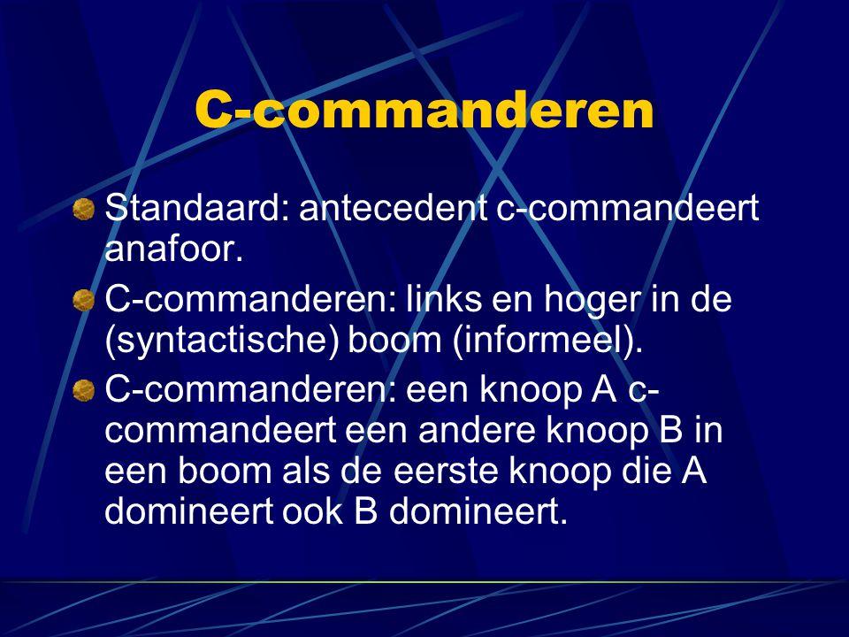 C-commanderen Standaard: antecedent c-commandeert anafoor. C-commanderen: links en hoger in de (syntactische) boom (informeel). C-commanderen: een kno