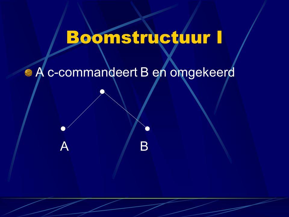 Boomstructuur I A c-commandeert B en omgekeerd   A B