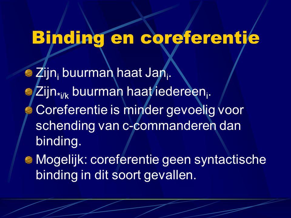 Binding en coreferentie Zijn i buurman haat Jan i. Zijn *i/k buurman haat iedereen i. Coreferentie is minder gevoelig voor schending van c-commanderen