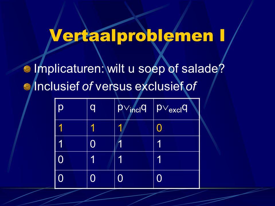 Vertaalproblemen I Implicaturen: wilt u soep of salade? Inclusief of versus exclusief of pq p  incl qp  excl q 1110 1011 0111 0000