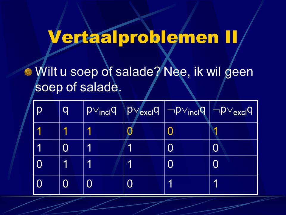 Vertaalproblemen II Wilt u soep of salade? Nee, ik wil geen soep of salade. pq p  incl qp  excl q  p  incl q  p  excl q 111001 101100 011100 000