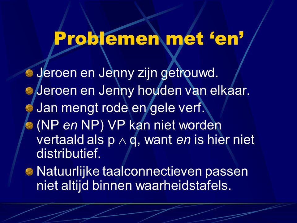 Problemen met 'en' Jeroen en Jenny zijn getrouwd. Jeroen en Jenny houden van elkaar. Jan mengt rode en gele verf. (NP en NP) VP kan niet worden vertaa