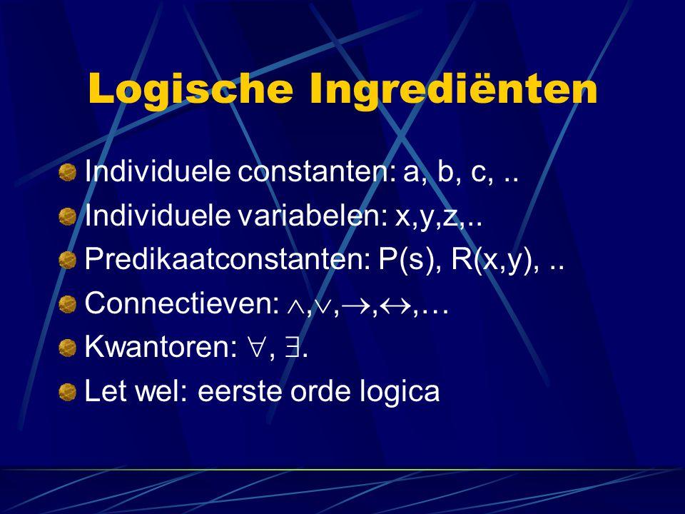 Logische Ingrediënten Individuele constanten: a, b, c,.. Individuele variabelen: x,y,z,.. Predikaatconstanten: P(s), R(x,y),.. Connectieven: , , ,