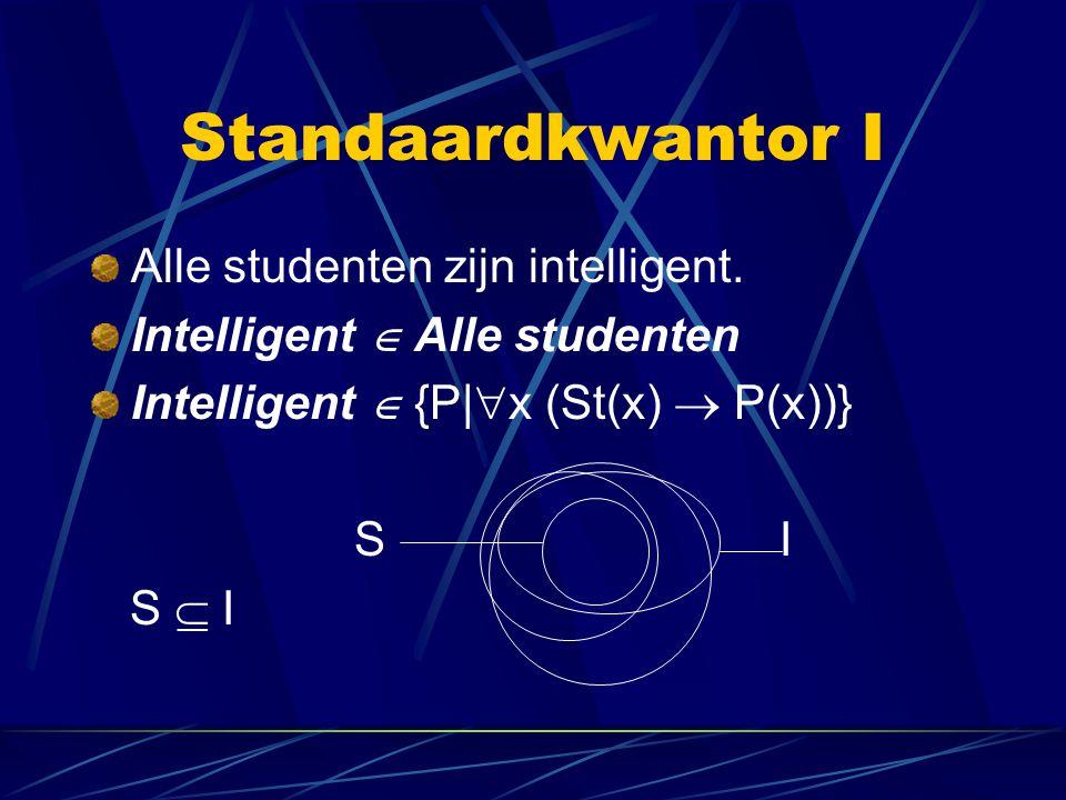 Standaardkwantor I Alle studenten zijn intelligent. Intelligent  Alle studenten Intelligent  {P|  x (St(x)  P(x))} S I S  I