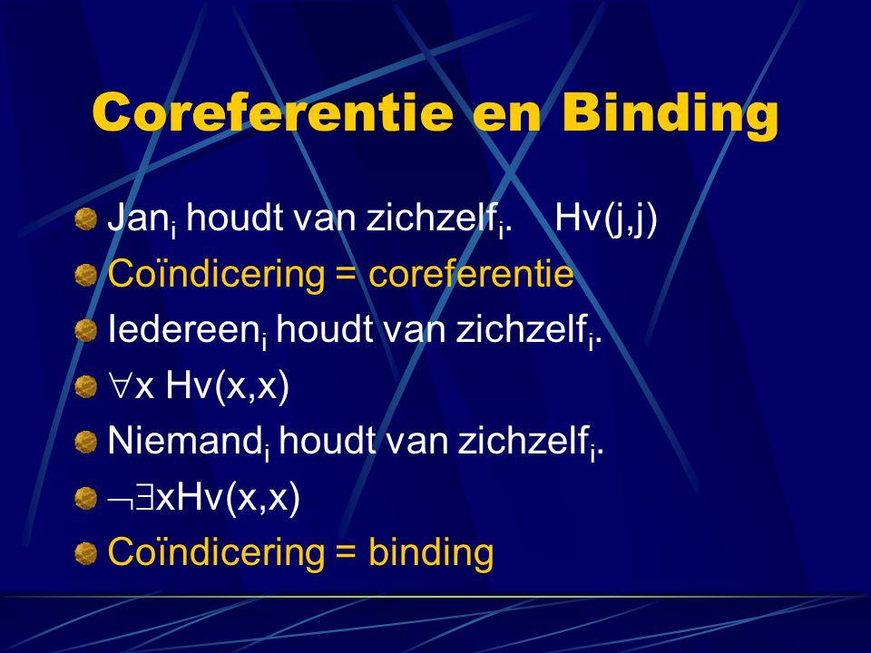 Coreferentie en Binding Jan i houdt van zichzelf i. Hv(j,j) Coïndicering = coreferentie Iedereen i houdt van zichzelf i.  x Hv(x,x) Niemand i houdt v