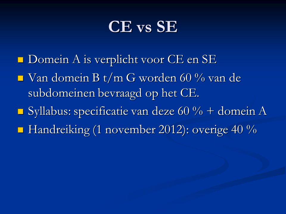 CE vs SE Domein A is verplicht voor CE en SE Domein A is verplicht voor CE en SE Van domein B t/m G worden 60 % van de subdomeinen bevraagd op het CE.