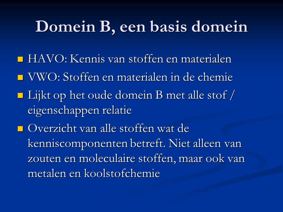 Domein B, een basis domein HAVO: Kennis van stoffen en materialen HAVO: Kennis van stoffen en materialen VWO: Stoffen en materialen in de chemie VWO: