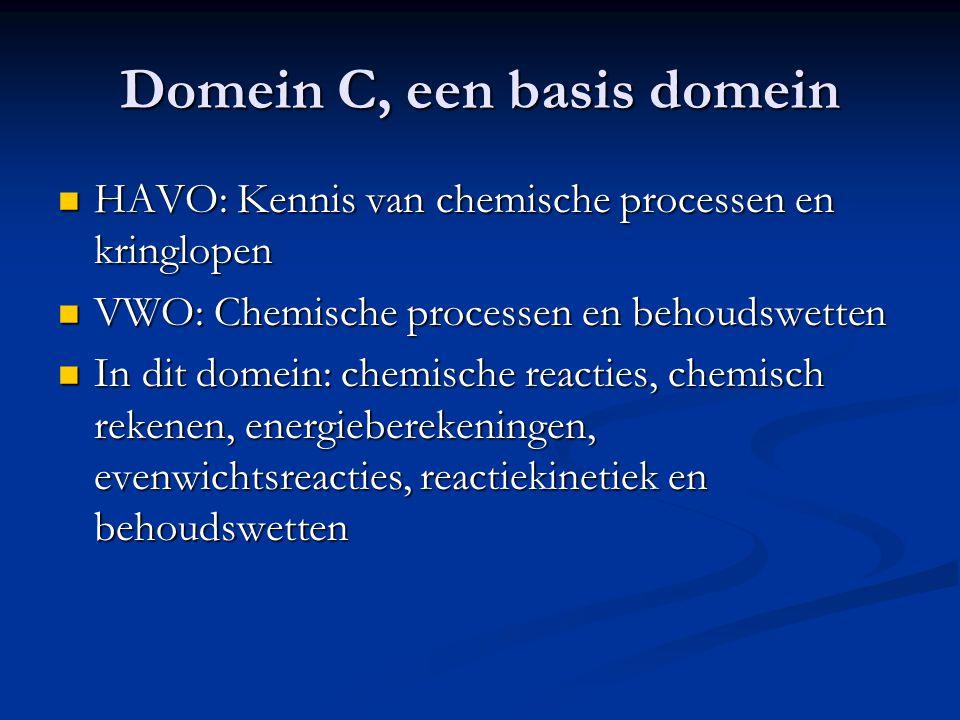 Domein C, een basis domein HAVO: Kennis van chemische processen en kringlopen HAVO: Kennis van chemische processen en kringlopen VWO: Chemische proces