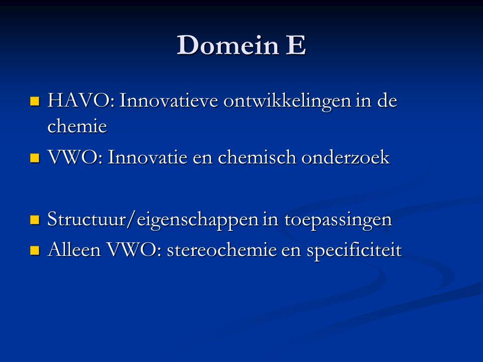 Domein E HAVO: Innovatieve ontwikkelingen in de chemie HAVO: Innovatieve ontwikkelingen in de chemie VWO: Innovatie en chemisch onderzoek VWO: Innovat