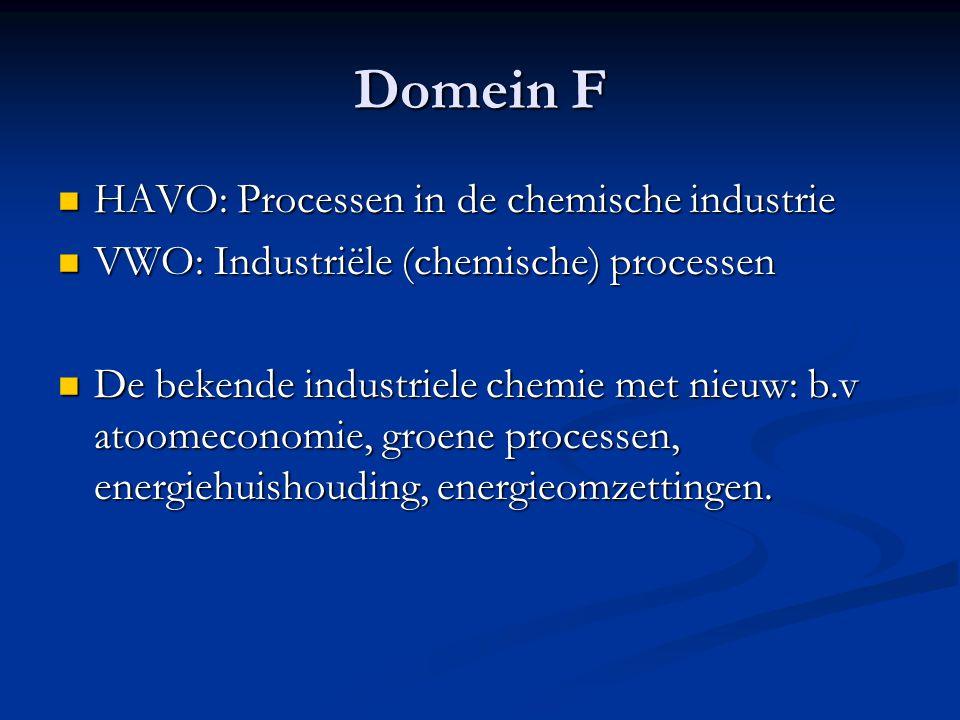 Domein F HAVO: Processen in de chemische industrie HAVO: Processen in de chemische industrie VWO: Industriële (chemische) processen VWO: Industriële (