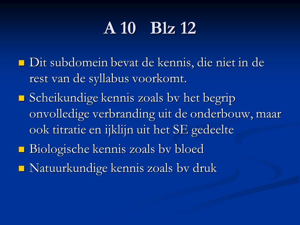 A 10 Blz 12 Dit subdomein bevat de kennis, die niet in de rest van de syllabus voorkomt. Dit subdomein bevat de kennis, die niet in de rest van de syl