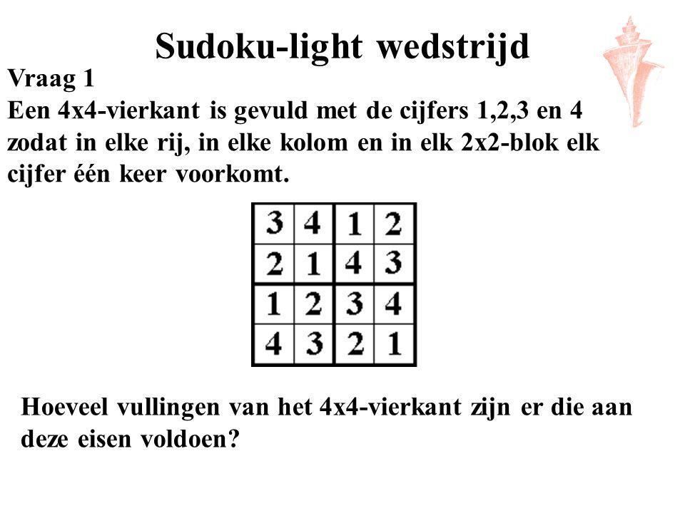 Sudoku-light wedstrijd Vraag 1 Een 4x4-vierkant is gevuld met de cijfers 1,2,3 en 4 zodat in elke rij, in elke kolom en in elk 2x2-blok elk cijfer één