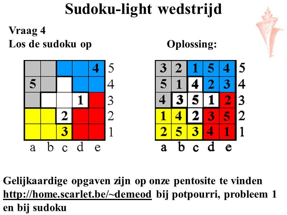 Sudoku-light wedstrijd Vraag 4 Los de sudoku op Gelijkaardige opgaven zijn op onze pentosite te vinden http://home.scarlet.be/~demeod bij potpourri, p
