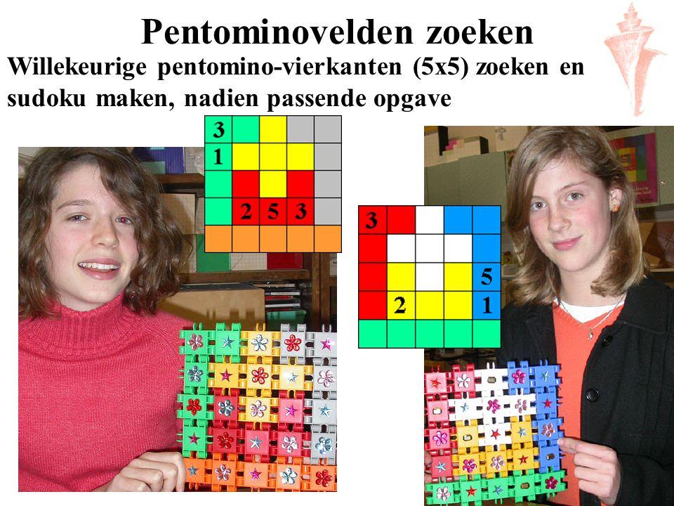 Pentominovelden zoeken Willekeurige pentomino-vierkanten (5x5) zoeken en sudoku maken, nadien passende opgave