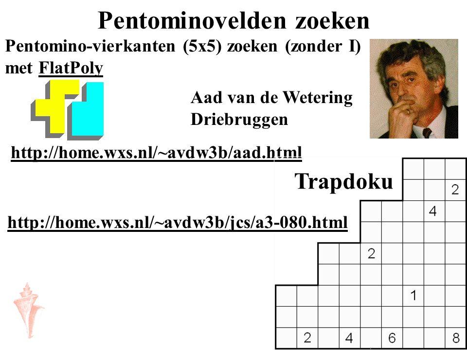 Pentominovelden zoeken Pentomino-vierkanten (5x5) zoeken (zonder I) met FlatPolyFlatPoly http://home.wxs.nl/~avdw3b/aad.html Aad van de Wetering Drieb