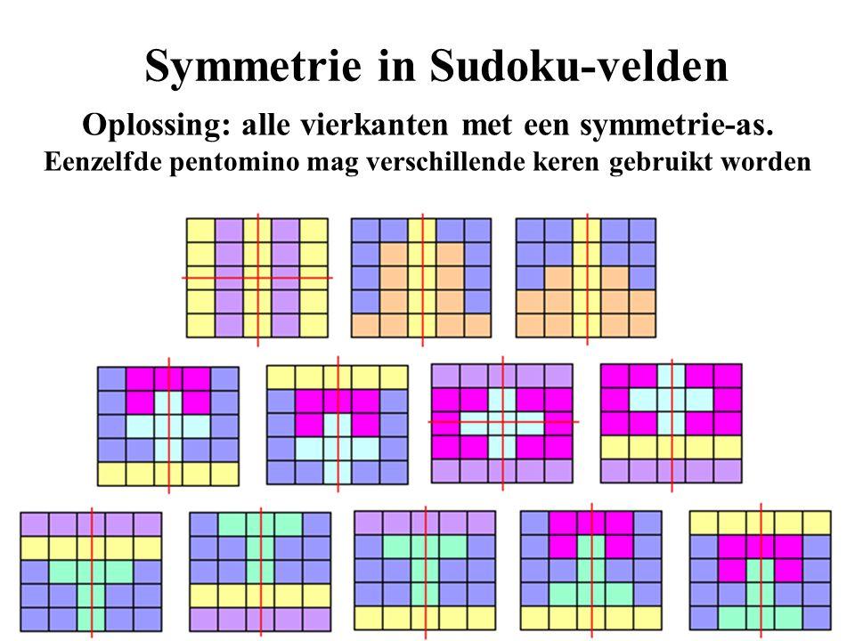 Symmetrie in Sudoku-velden Oplossing: alle vierkanten met een symmetrie-as. Eenzelfde pentomino mag verschillende keren gebruikt worden