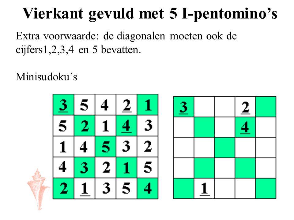 Vierkant gevuld met 5 I-pentomino's Extra voorwaarde: de diagonalen moeten ook de cijfers1,2,3,4 en 5 bevatten. Minisudoku's