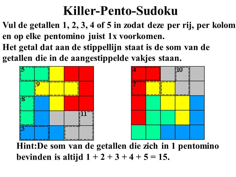 Killer-Pento-Sudoku Vul de getallen 1, 2, 3, 4 of 5 in zodat deze per rij, per kolom en op elke pentomino juist 1x voorkomen. Het getal dat aan de sti